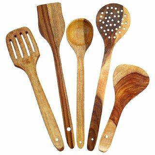 Pack Of 5 Kitchen Wooden Skimmer and Serving Spoons, Brown (Big size)