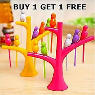 Honest  Multicolor   Fancy Plastic FRUIT FORK (BUY 1 GET 1 FREE) Set Of 2 Fruit Forks