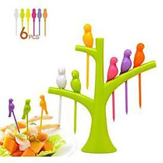 Birds Fruit Fork 6 Birds Fork with Stand (Multicolour)
