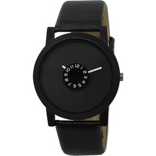 Gujju Rocks Round Dail Black Leather And Synthetic StrapMens Quartz Watch For Men