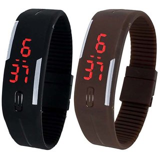 Shivsoft Digital 2 pc  (COMBO) Dial Slim and Led Bracelet and Lighting Watch For Kides and Men and Boys and Women and Teenagers or Unisex watch(random colours)