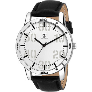 True Colors Black Leather Strap Quartz Watch For Men