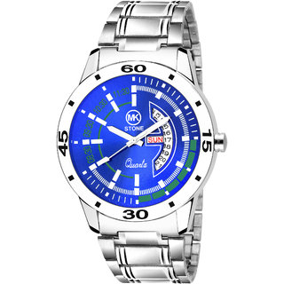 mkstone blue  Day and Date Functioning Metal Strap Watch - For Men 3502