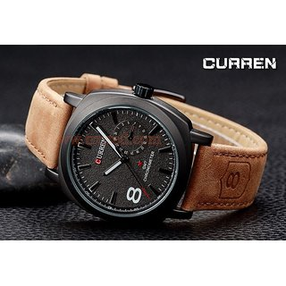 Omkart Stylist Curren Black Dial Brown Leather Belt Analog Men S Watch