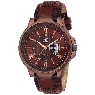 Espoir Brown Round Dial Leather Strap Analog Quartz Watch For Men