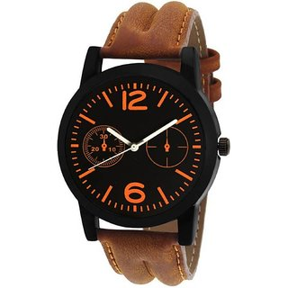 KDS latest NEW bEST chronograph pattern attractive Brown genuine leather belt watch for Men