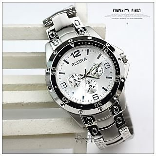 True Choice Round Dail Silver Metal StrapMens Quartz Watch For Men