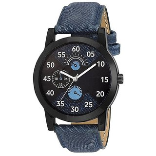 TRUE COLORS Round Dail Black Leather StrapMens Mechanical Watch For Men