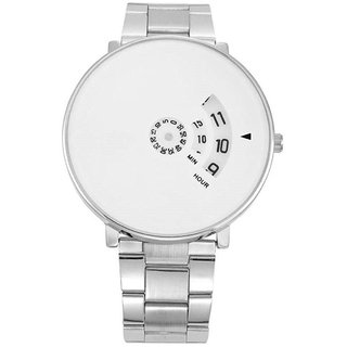 IDIVAS Round Dail Silver Metal StrapMens Quartz Watch For Men
