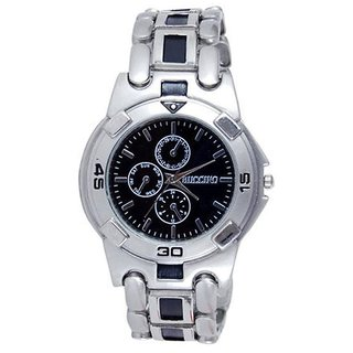 Buccino Round Dial Black Analog Watch for Men