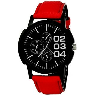 Mark Regal Black Dial Red Strap Watch for mens