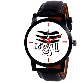 NEW BLLACK STRAP WHITE DIAL MAHADEV TYPE ANLOGE  WATCH FOR BOYS 6 MONTH WARRANTY