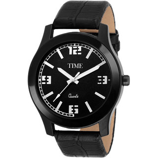 Time Quartz Men Black Casual Analog Watch