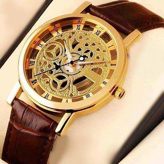 Sai Enterprises Round Dail Brown Leather StrapMens Quartz Watch For Men