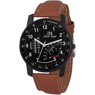 Mark Regal Black Dial brown Strap Watch For Men-(M/R)