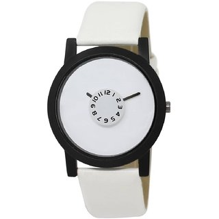 Mastani And No Brand Round Dail White Leather And Synthetic StrapMens Quartz Watch For Men