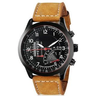 Gujju Rocks Round Dail Brown Leather And Synthetic StrapMens Quartz Watch For Men