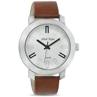 kayra fashion Mark Regal White Dial brown Strap Watch For Men