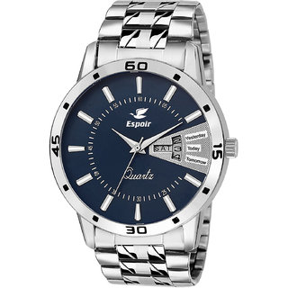 Espoir Blue Round Dial Silver Metal Strap Analog Casual Watch For Men