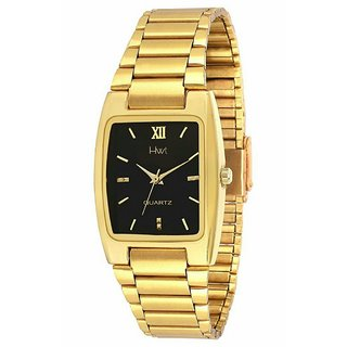 Unique Shopping Rectangle Dial Gold Metal Strap Analog Watch For Men