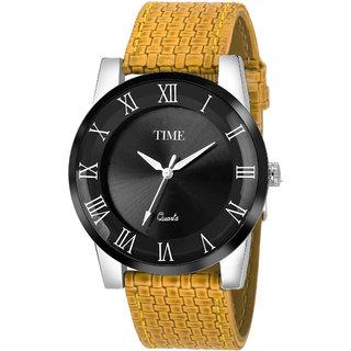Time Quartz Men Black  Brown Doom Glass Analog Watch