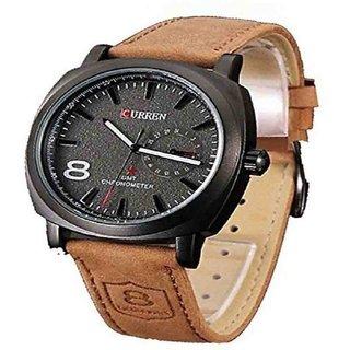 Curren Round Dial Black Analog Watch for Men