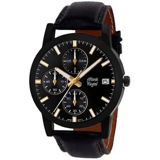 Mark Regal Black Round Dial Leather Strap Analog Watch For Men