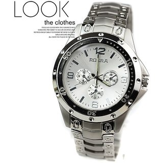 Rosra Round Dail Silver Metal StrapMens Quartz Watch For Men