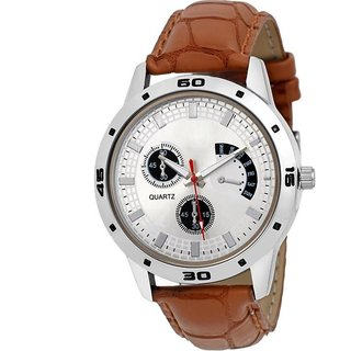 AVIo Dial Brown Leather Strap Quartz Watch For Men  6 MONTH WARRANTY