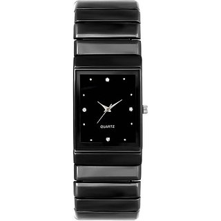 Varni Retail Black Rectangle Dial Metal Strap Men Wrist Watch For Boys
