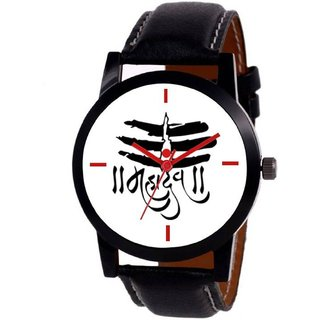 NEW WHITE DIAL BLACK LEATHER STRAP MAHADEV WATCH FOR BOYS  MEN 6 MONTH WARRANTY
