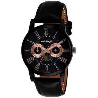Mark Regal Round Dail Black Leather Strap Analog Watch For Men(MR073)