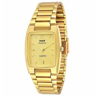 HWT Rectangle Dial Gold Metal Strap Analog Watch For Men