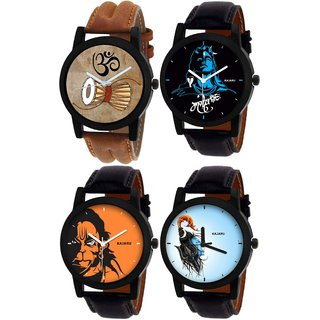 Kajaru Round Dail Black And Brown Leather StrapMens Quartz Watch For Men