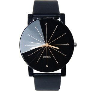 Loretta Round Dial Black Leather Strap Analog Watch for Men