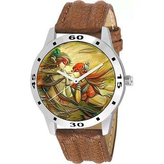 HRV Radha-Krishna God Love Brown Watch