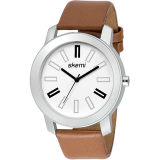 Loretta Round Dail Brown Leather StrapMens Quartz Watch For Men