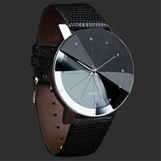 Others Round Dail Black Leather StrapMens Quartz Watch For Men