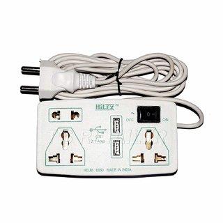 Hilex USB Extension Board / Cord / Power Strip - 6 AMP 3 Socket, Fast Charging 5v, 2.1 amp