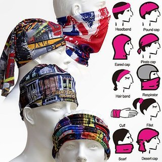 (PACK OF 10) DIFFERENT ONE Printed Unisex Multifunctional 13 in 1 Style Face Mask- MIX-COLOR