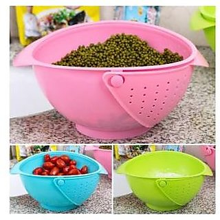 Evershine New 2 In 1 Practical Vegetable Basin Wash Rice Sieve Fruit Bowl Fruit Basket Kitchen (Colour May Vary)