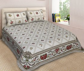 Chokor 141 T C Modern Print Double Bed sheet with Two Pillow Covers - Multicolour, s