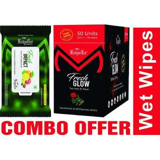 Mistpoffer Fresh Impact 10 Wipes Pack of 1, Fresh Glow 100 Wipes Twin Pack - Wet Wipes Combo Offer - Wetwipes