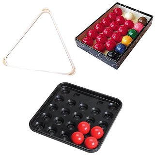 CLUB 147 COMBO OF SNOOKER BALL SET TRIANGLE N TRAY