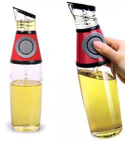 Cooking Oil Vinegar Bottle Press  Measure Kitchen Glass Bottle Dispenser 500ml, Glass Vinegar Oil Measurement Bottle