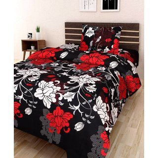 Chhavi Poly-Cotton Single Bedsheet with 1 Pillow Cover (Floral 3D printed Black-Red)