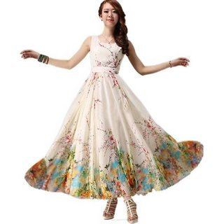 Vkaran Women's Off White Georgette Semi Stitched anarkali Style Salwar Suit