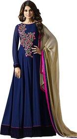 Florence Women's Navy Blue Georgette Semi Stitched anarkali Style Salwar Suit