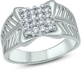18K White Gold Fn CZ Sterling Silver For Mens Boys Ring
