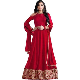 Florence Women's Red Heavy faux georget Semi Stitched anarkali Style Salwar Suit